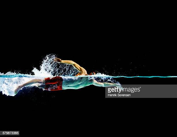 Male swimmer in front crawl