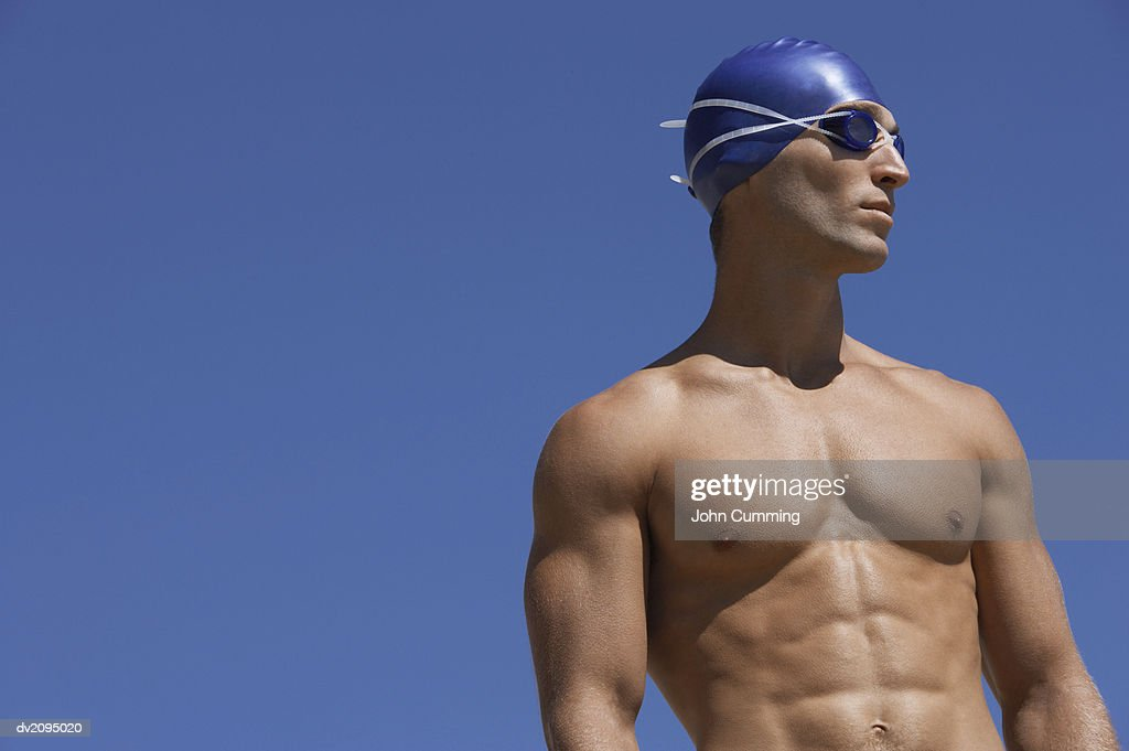 Male Swimmer Looking Sideways : Stock Photo