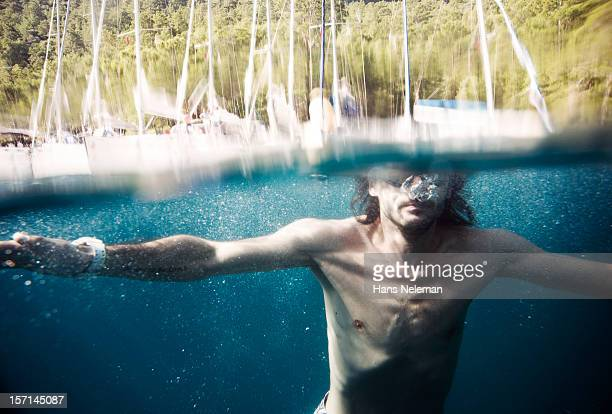 Male swimmer underwater