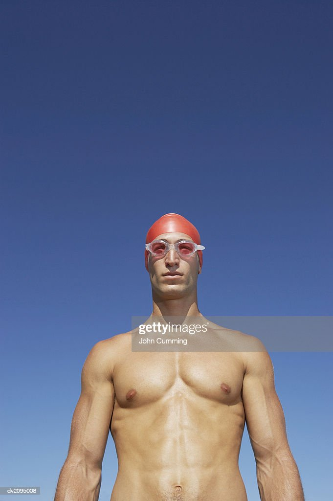 Male Swimmer Wearing His Swimming Goggles : Stock Photo