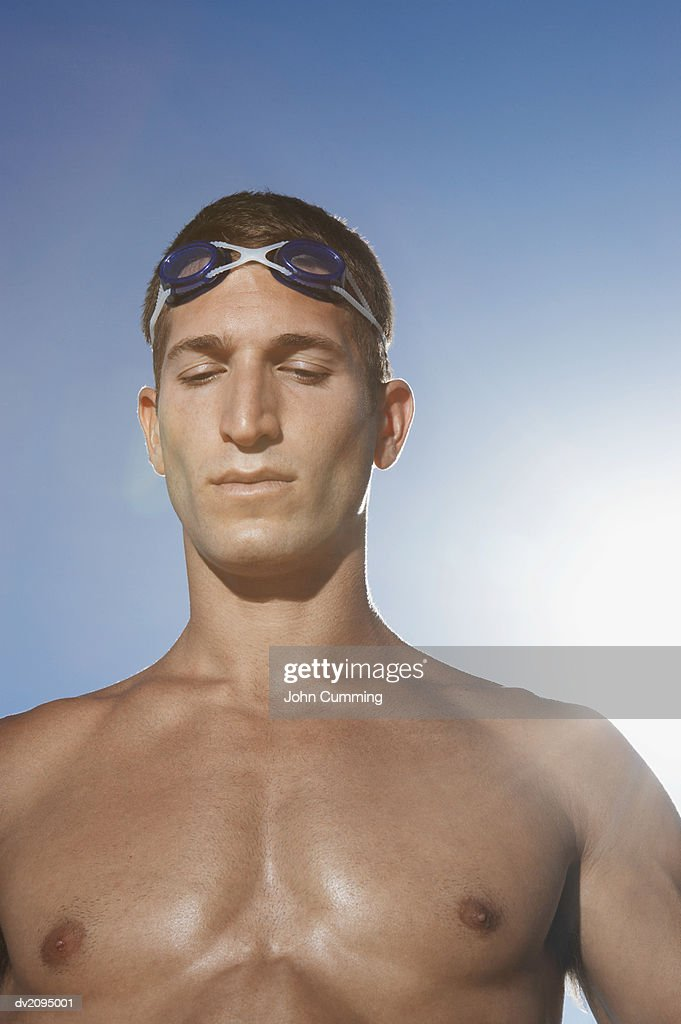 Male Swimmer With His Eyes Closed : Stock Photo