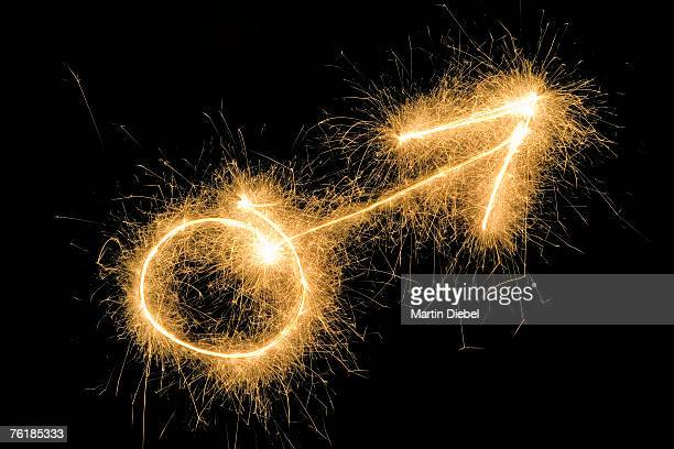 Male Symbol drawn with a sparkler