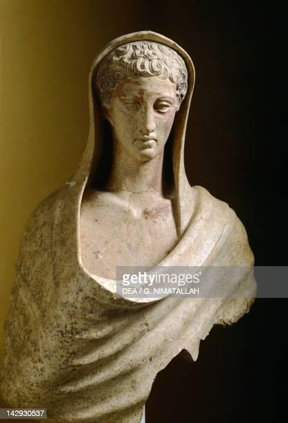 Male Torso, terracotta sculpture from the site of Lavinium-Pratica di Mare, Lazio, Italy. Latin Civilization, 5th Century BC. Pomezia Pratica Di...