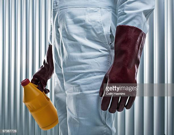 male torso with protective chemical clothing