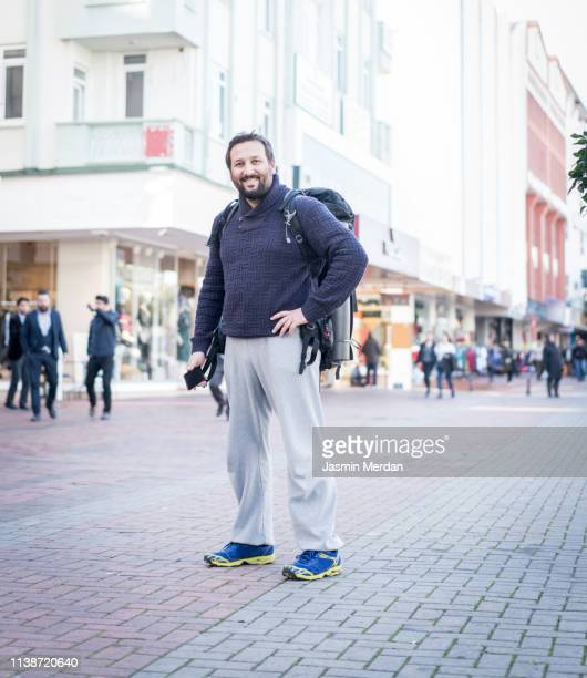 Male tourist on travel in city