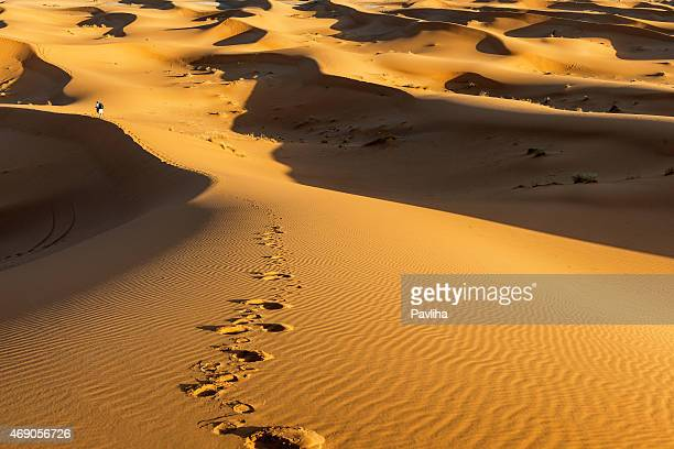 Male  tourist photographing, sand dunes, evening ,Erg Chebbi, Morocco