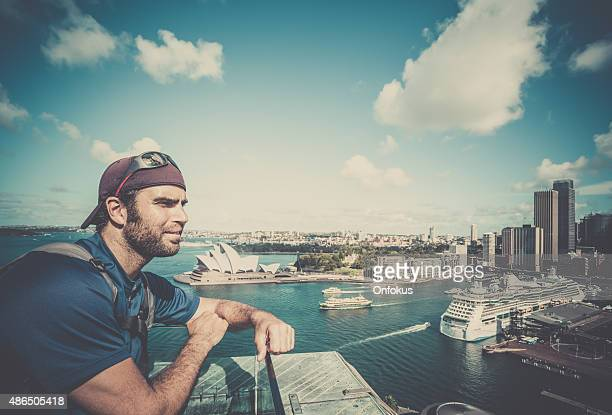 Male Traveler Looking at the Cityscape of Sydney, Australia