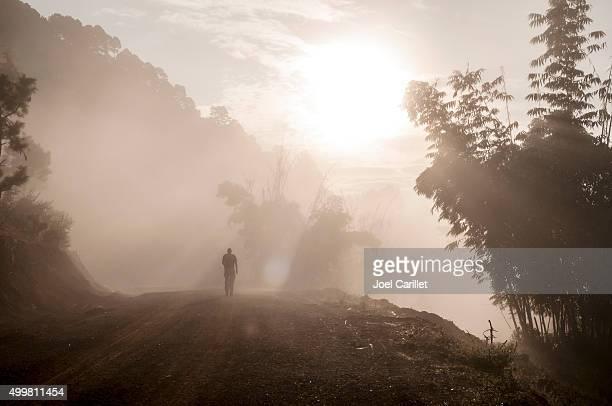 Male traveler trekking at sunrise in misty forest in Burma