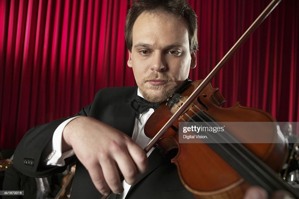 Male Violinist Performing : Stock Photo