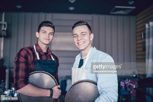 Male Waiters Colleagues Posing In The Bar