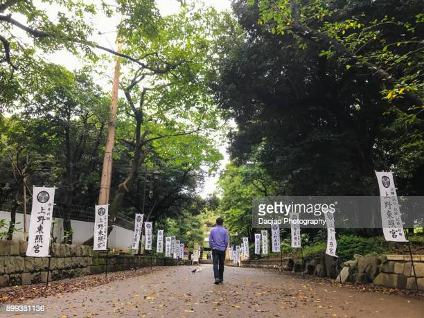 male walks on road leading to a shrine
