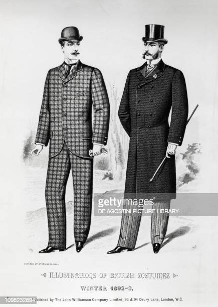 Male wearing a checked suit with bowler hat male wearing a frock coat cylinder and stick winter 18921893 illustration Italy 19th century