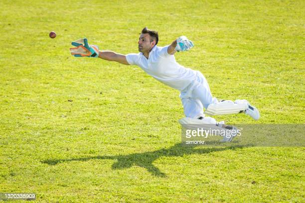 male wicketkeeper attempting to catch the ball - cricket pitch stock pictures, royalty-free photos & images