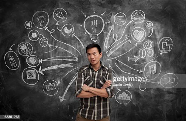 Male with chalkboard and social media icons