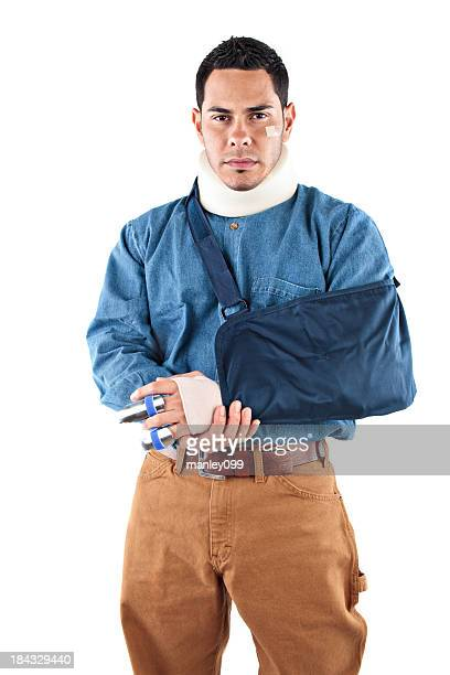 male worker injured in a cast and neck brace - cast colors for broken bones stock pictures, royalty-free photos & images