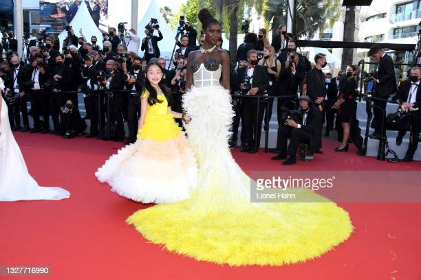"""Malea Emma Tjandrawidjaja and Jodie Turner-Smith attend the """"Stillwater"""" screening during the 74th annual Cannes Film Festival on July 08, 2021 in..."""