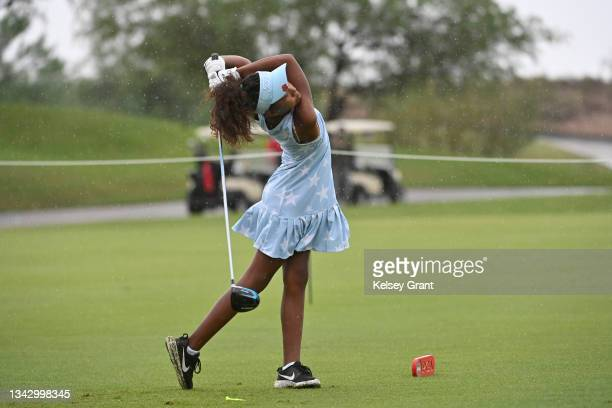 Maleah Clark attmepts a drive during the 2021 Drive, Chip and Putt Regional Qualifier at TPC Scottsdale on September 26, 2021 in Scottsdale, Arizona.