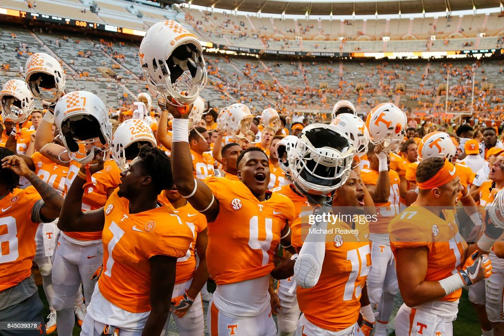 Maleik Gray #4 and the Tennessee Volunteers celebrate after defeating Indiana State Sycamores at Neyland Stadium on September 9, 2017 in Knoxville, Tennessee.