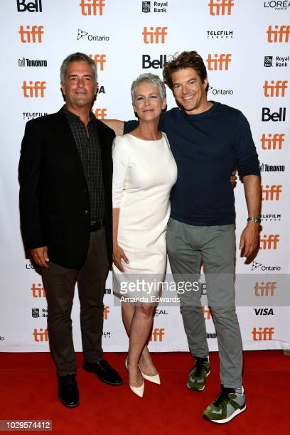 Malek Akkad Jamie Lee Curtis and Jason Blum attend the Halloween premiere during 2018 Toronto International Film Festival at The Elgin on September 8...