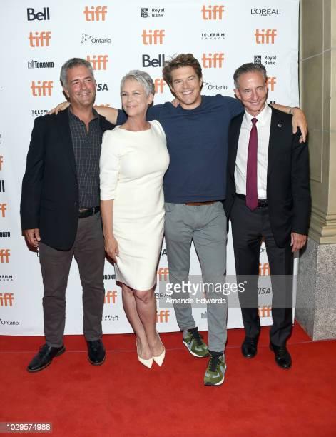 Malek Akkad Jamie Lee Curtis Jason Blum and Bill Block attend the 'Halloween' premiere during 2018 Toronto International Film Festival at The Elgin...
