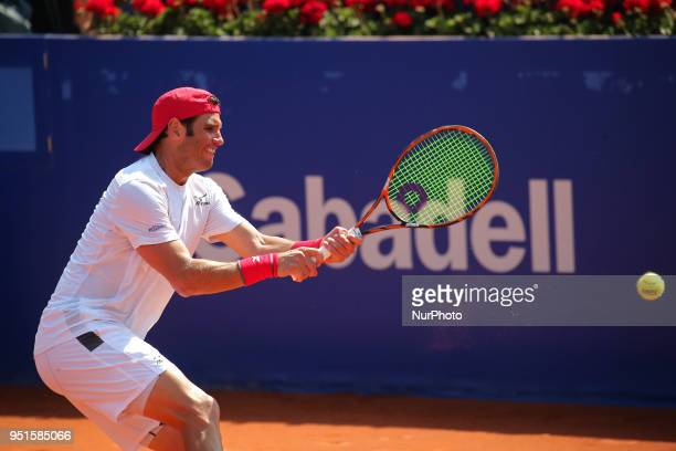 Malek Jaziri during the match against Grigor Dimitrov during the Barcelona Open Banc Sabadell on 26th April 2018 in Barcelona Spain