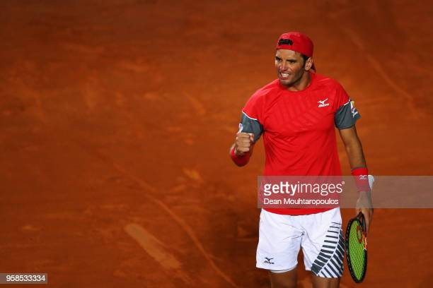 Malek Jaziri of Tunisia celebrates a point against Kyle Edmund of Great Britain during day two of the Internazionali BNL d'Italia 2018 tennis at Foro...