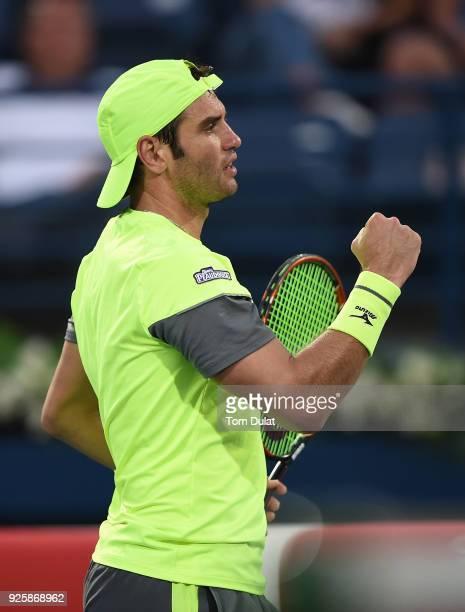 Malek Jaziri of Tunisia celebrates a point during his quarter final match against Stefanos Tsitsipas of Greece on day four of the ATP Dubai Duty Free...