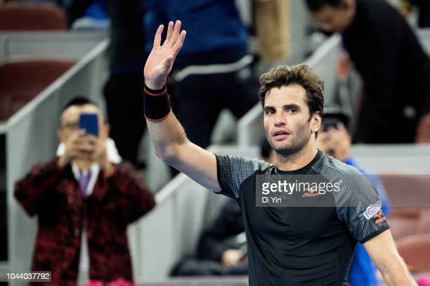 Malek Jaziri of Tunisia celebrates after win against Wu yibing of China during his Men's Singles first Round match of the 2018 China Open at the...