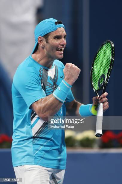 Malek Jaziri of Tunisia celebrates victory after winning his Round One match against Norbert Gombos of Slovakia during Day Two of the Qatar...