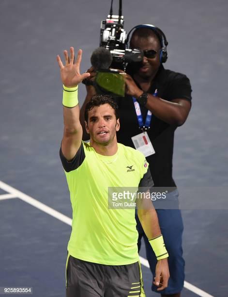 Malek Jaziri of Tunisia celebrates winning his quarter final match against Stefanos Tsitsipas of Greece on day four of the ATP Dubai Duty Free Tennis...