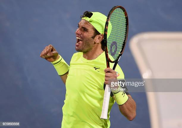 Malek Jaziri of Tunisia celebrates winning his quarter final match against Stefanos Tsitsipas of Greece on day four of the ATP Dubai Duty Free Tennis...