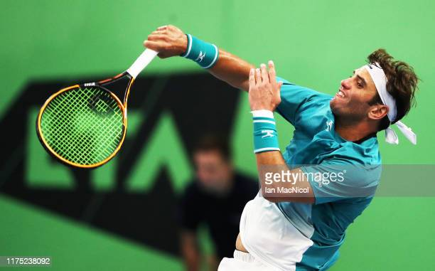 Malek Jaziri of Tunisia is seen in action in his second round match against Julian Ocleppo of Italy during day two of The Murray Trophy at Scotstoun...