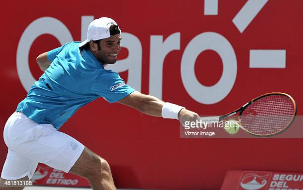 Malek Jaziri of Tunisia plays a backhand shot during a match against Adrian Mannarino of France as part of ATP Claro Open Colombia 2015 at Centro de...