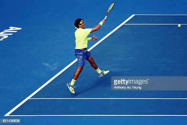 Malek Jaziri of Tunisia plays a forehand in his match against John Isner of USA on day ten of the ASB Classic on January 11 2017 in Auckland New...