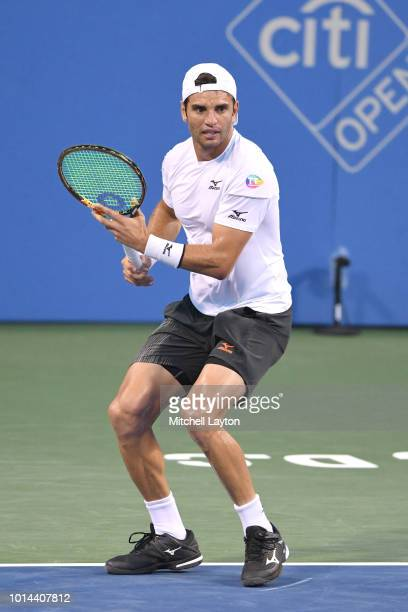 Malek Jaziri of Tunisia prepares for a shot from Alexander Zverev of the Germany during Day Five of the Citi Open at the Rock Creek Tennis Center on...