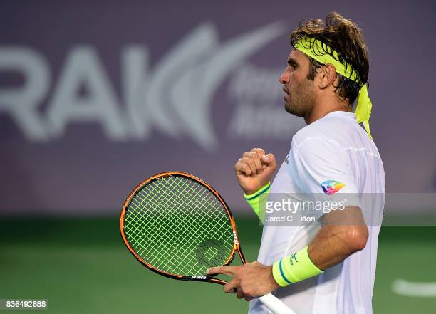 Malek Jaziri of Tunisia reacts after a point against Taylor Fritz during the third day of the WinstonSalem Open at Wake Forest University on August...