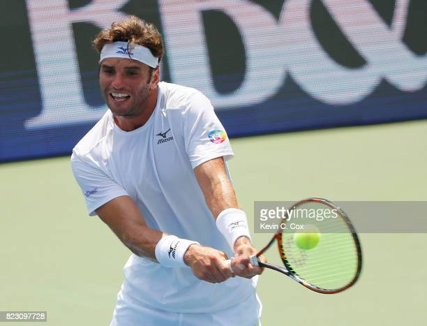 Malek Jaziri of Tunisia returns a backhand to Tommy Paul during the BBT Atlanta Open at Atlantic Station on July 26 2017 in Atlanta Georgia