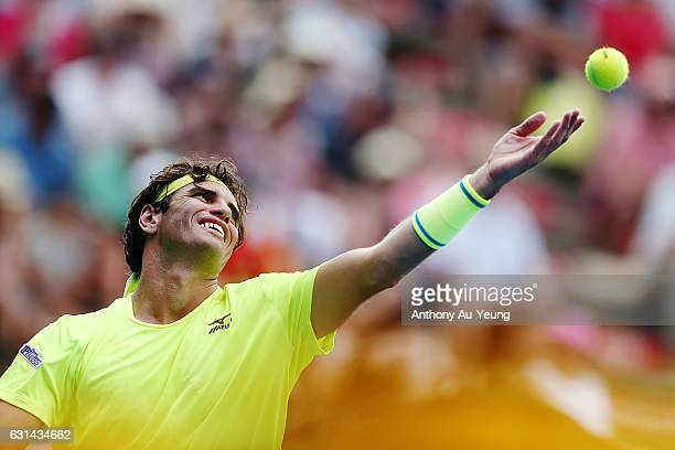 Malek Jaziri of Tunisia serves in his match against John Isner of USA on day ten of the ASB Classic on January 11 2017 in Auckland New Zealand