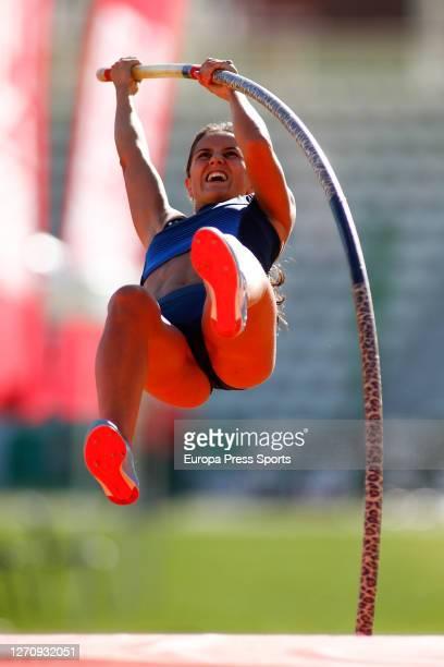 Malen Ruiz De Azua Larrinaga competes in pole vault women during the Iberdrola Gold Athletics Cup celebrates at Vallehermoso Stadium on September 05,...