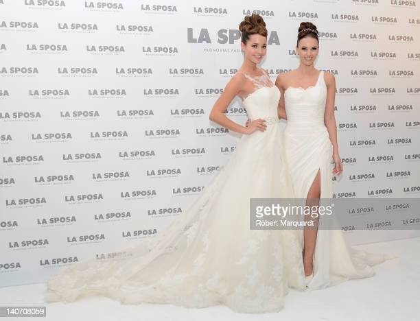Malena Costa and Helen Lindes pose during a photocall for 'La Sposa' a new collection by the Pronovias Fashion Group at the Palau de Congressos on...