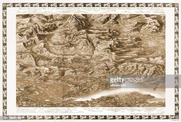 Malerisches Relief des klassischen Bodens der Schweiz, Sektion 7, enthaltend den Ober-Zürich-See, das Gaster im Kanton St. Gallen, die March, das...