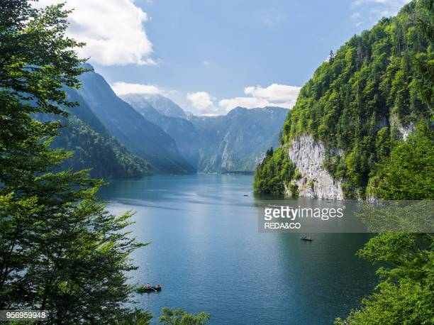 Malerwinkel at lake Koenigssee in the National Park Berchtesgaden Europe Central Europe Germany Bavaria August