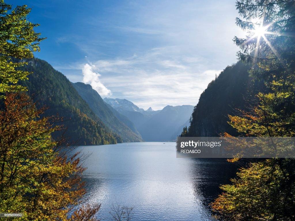Malerwinkel (Painters Corner) at lake Koenigssee in the National Park Berchtesgaden : News Photo