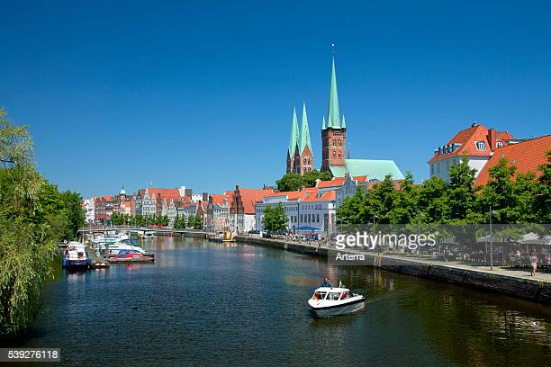 Malerwinkel with view over the Labecker Marienkirche / St Mary's church and the St Petri Church / Petrikirche along the river Obertrave at Labeck...
