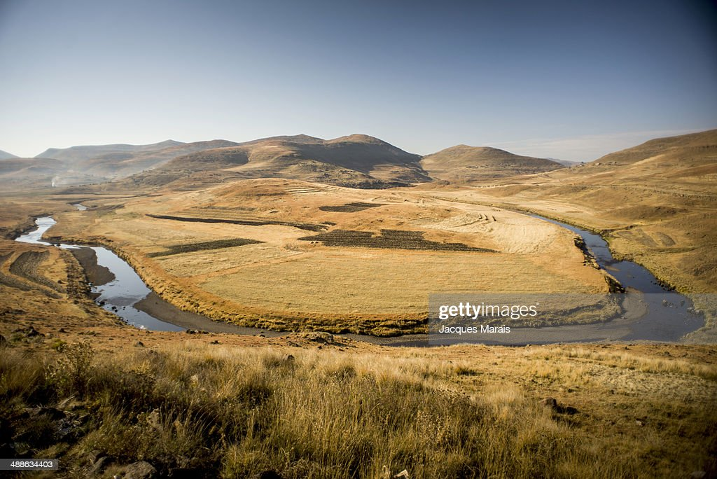 Maletsunyane River forming horseshoe, Highlands, Lesotho : Stock Photo