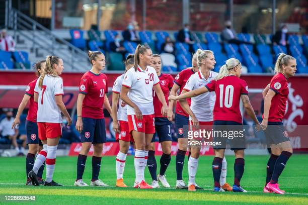 Malgorzata Grec of Poland seen in action during the UEFA Women's EURO 2021 qualifying match between Poland and Czech Republic at BielskoBiala City...