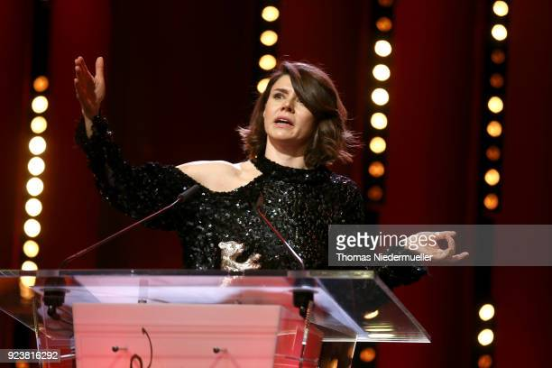 Malgorzata Szumowska receives the Silver Bear Grand Jury Prize for 'Mug' at the closing ceremony during the 68th Berlinale International Film...