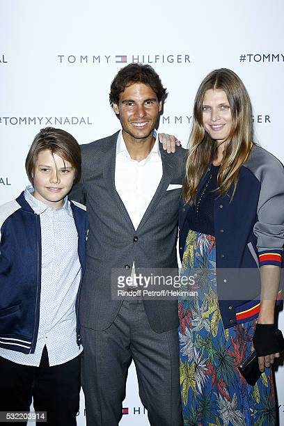 Malgosia Bela and her son Jozef Bela pose with Rafael Nadal during the Tommy X Nadal party hosted by Tommy Hilfigeron May 18 2016 in Paris France