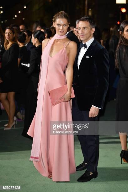 Malgosia Bela and Simon Holloway attend the Green Carpet Fashion Awards Italia 2017 during Milan Fashion Week Spring/Summer 2018 on September 24 2017...