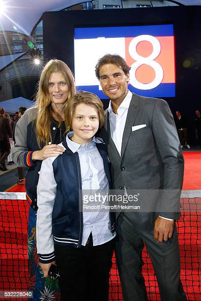 Malgosia Bela her son Jozef Bela and Tennis player Rafael Nadal attend Tommy Hilfiger hosts Tommy X Nadal Party Photocall on May 18 2016 in Paris